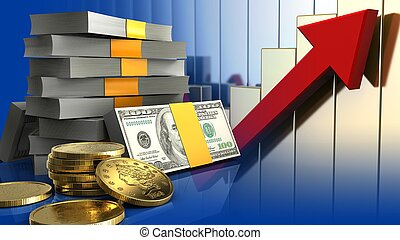3d of money stack - 3d illustration of money stack over...