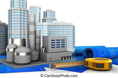 3d of ruler - 3d illustration of factory with urban scene...