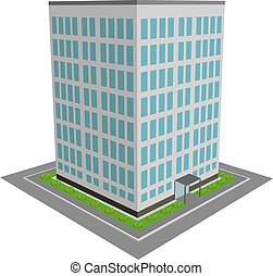 3D office building flat design vector illustration.