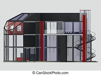 3d office building - side view