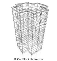 3D office building - wireframe