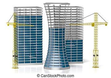 3D office buildings, construcion site, white background - ...