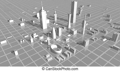 3D office buildings - growing city - 3D growing city -...