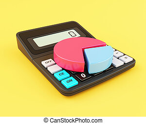 3d Office calculator and pie chart.