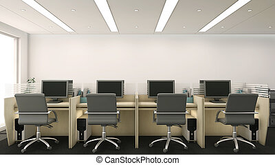 3d Office Cubicles - 3d render of office cubicles with...