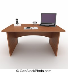 3d office desk with laptop isolated on white