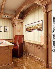 3d office rendering - The 3D rendering of the classic...