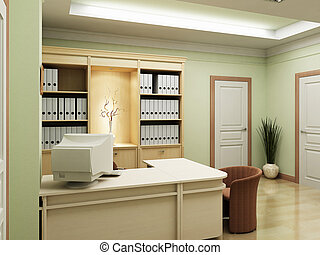 3d office rendering - The 3D rendering of the classic style ...