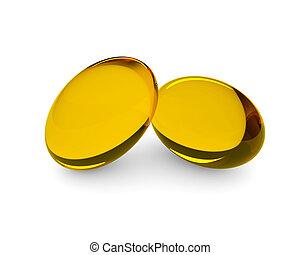 3d oil supplements in soft gel capsules lying on desk