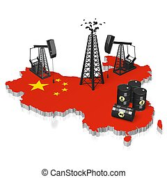 3D oil wells in China concept