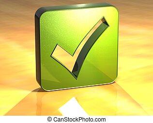 3D OK Green Sign