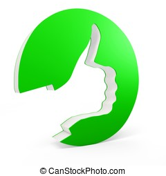 3d ok sign with hand design