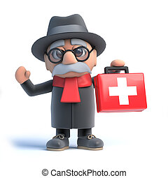 3d Old man brings first aid - 3d render of an old man ...