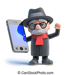 3d Old man has a smartphone - 3d render of an old man using...