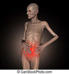 3D old man holding his stomach in pain