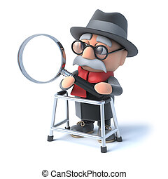 3d Old man looks through magnifying glass
