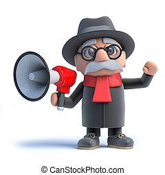 3d Old man using a megaphone - 3d render of an old man...
