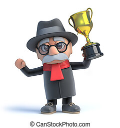 3d Old man wins the gold cup trophy - 3d render of an old...