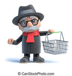 3d Old man with shopping basket - 3d rendering of an old man...