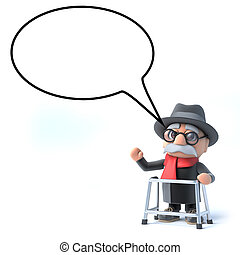 3d Old man with speech bubble - 3d render of an old man with...