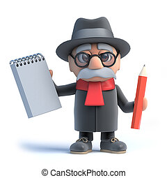 3d Old man with walking frame holding a notepad and pencil