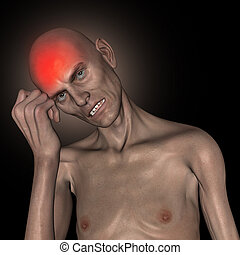 3D old thin man holding head in pain