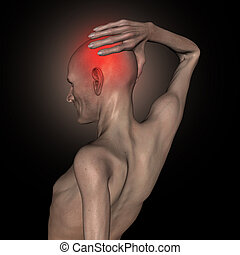 3D old thin man holding his head in pain