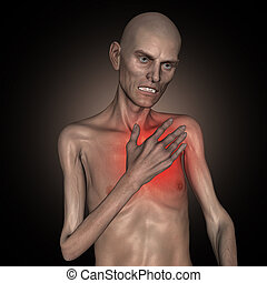 3D old thin man holding his heart in pain