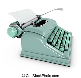 3d Old typewriter - 3d render of an old retro green...