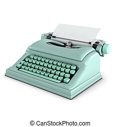 3d Old typwriter - 3d render of a pale green typewriter