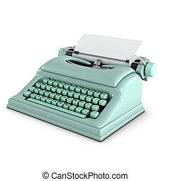 3d Old typwriter - 3d render of a pale green typewriter