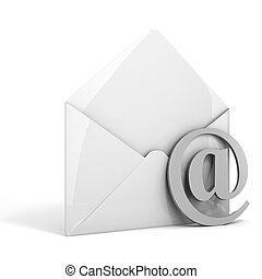 3d online email  on white background, concept