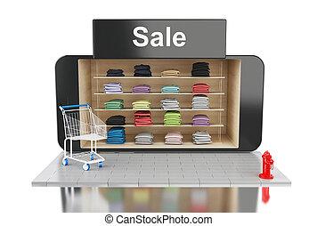 3d online mobile shopping.