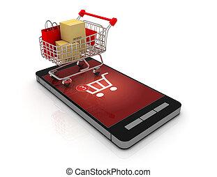 3d online shopping concept .3d rendered illustration