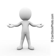 3d, open, arm, welkom, gebaar, houding, pose