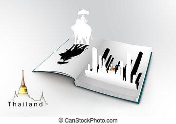 3D open book with thailand bangkok
