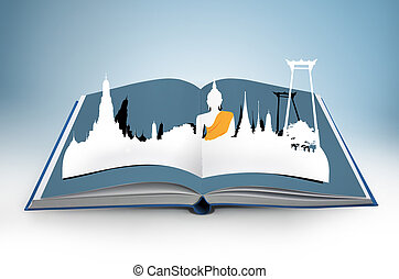 3D open book with thailand