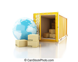 3d Open container with cardboard boxes and earth globe