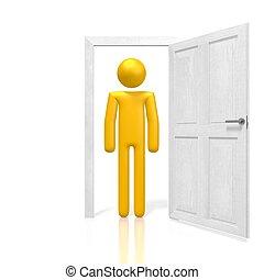 3d, open deur, concept