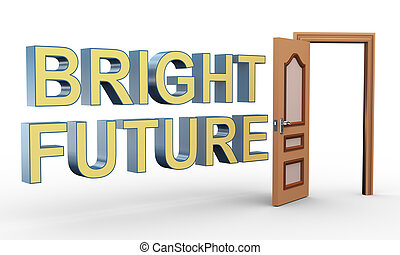 3d open door and bright future