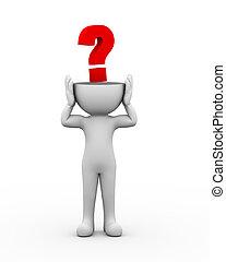 3d open head man question mark