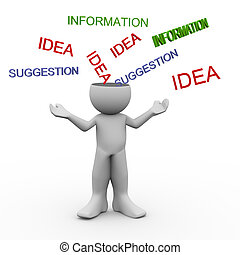 3d render of man with open mind accepting ideas, information, suggesstion. 3d human character illustration.