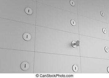 3d Open safe deposit box with key on keyhole.