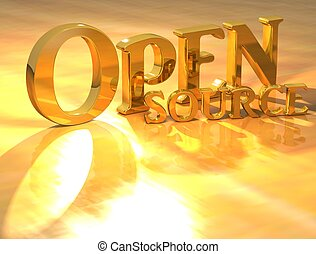 3D Open source Gold text over yellow background