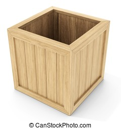 3d open wooden crate