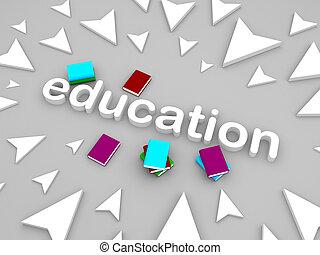 3d, opleiding, tekst, met, boekjes , en, richtingwijzer