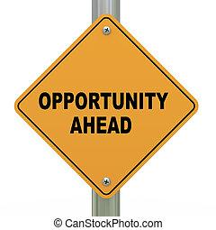 3d, opportunità, strada, avanti, segno