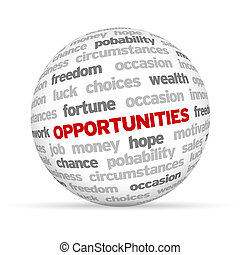 3d Opportunities Word Sphere on white background.