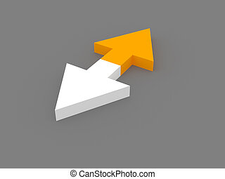 3d opposite arrows - 3d rendering of two opposite white and...