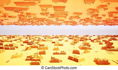 3d orange boxes futuristic for concept design. Texture background. Abstract architecture design. business illustration. Orange abstract background. Modern orange boxes futuristic